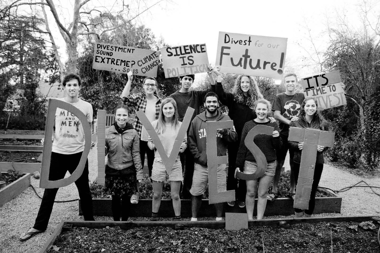 Fossil Free activists protest at Stanford University.